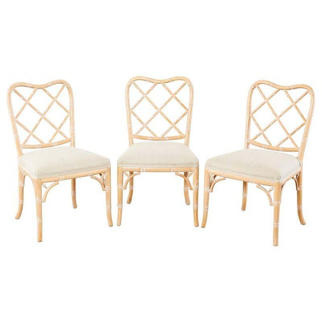 Faux Bamboo Chinese Chippendale Dining Chairs - Set of 3 For Sale - Image 13 of 13