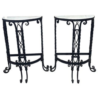 19th Century French Demilune Iron and Marble Tables - a Pair For Sale