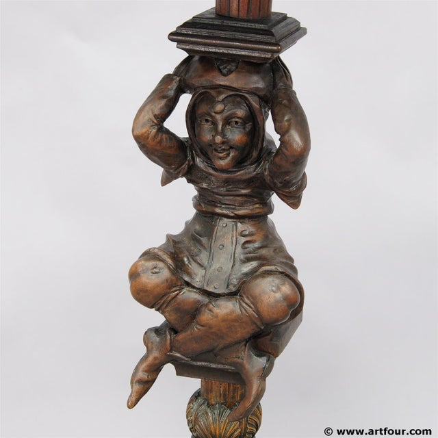 A Great Antique Gueridon With Carved Jester on the Base For Sale - Image 4 of 11