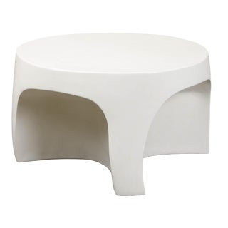 Cream Lacquer Curve Table by Robert Kuo, Limited Edition For Sale