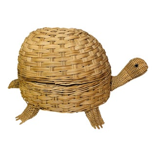 Mid Century Modern Wicker Turtle Storage Box For Sale