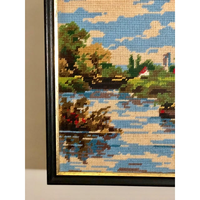 Perfect for an art wall! Beautifully intricate vintage needlepoint tapestry, framed under glass, of an English landscape...