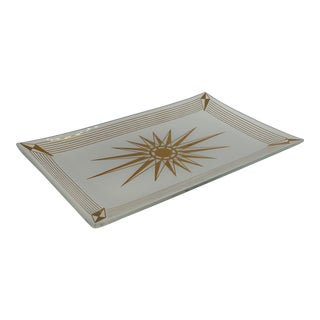 Early 20th Century Sunburst White Glass Catchall For Sale