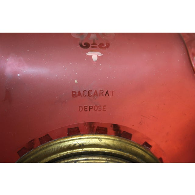 Art Deco Beautiful French Art Nouveau / Art Deco Pink Oil Lantern Or Pendant Signed By ''BACCARAT''Circa 1900th Centuy. For Sale - Image 3 of 13