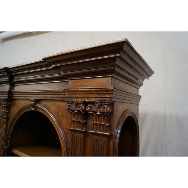 Large Italian Walnut Architectural Bookcase w/ Corinthian Columns For Sale In Philadelphia - Image 6 of 10