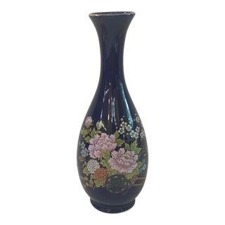 Vintage Japanese Dark Blue Ceramic Vase With Botanical Design For Sale