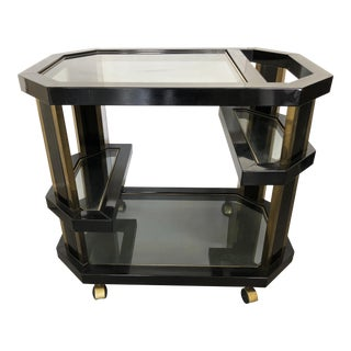 Brass And Black Metal Octagonal Bar Cart