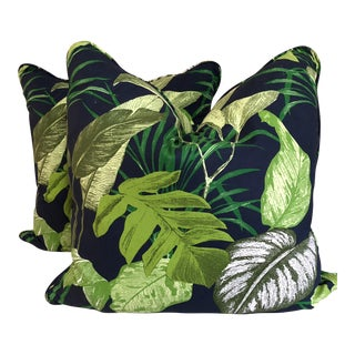 Jungle Print French Cotton Pillows - a Pair For Sale