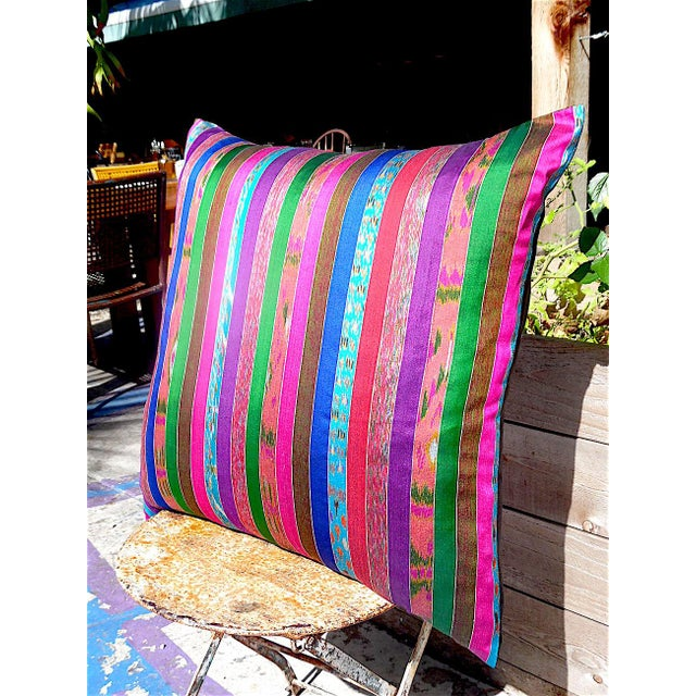 Silk Ikat Multi Stripe Floor Pillow Chairish