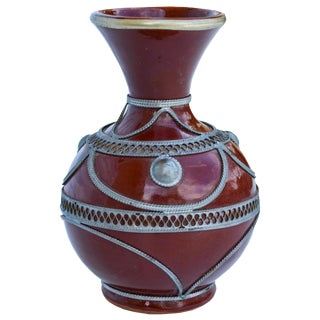 Moroccan Ceramic Vase W/ Silver Inlay For Sale