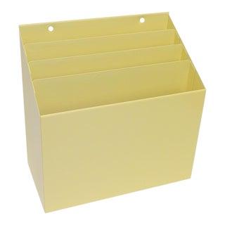 Mid-Century Modern Satin Yellow Metal Desk Organizer
