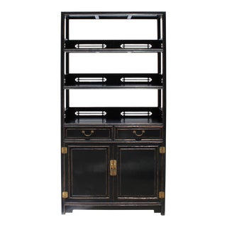 Chinese Distressed Black Lacquer 3 Shelves Bookcase Display Cabinet For Sale