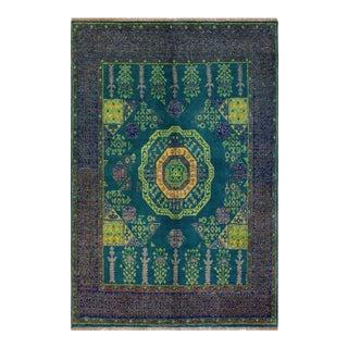 1990s Southwestern Balouchi Alethia Teal/Blue Wool Rug - 5'1 X 6'10 For Sale