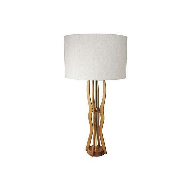 Paul Hanson Tall Mid Century Teak Table Lamp - Image 1 of 5