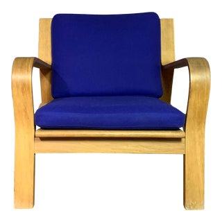 1960s Vintage Hans J. Wegner Ge671 Oak & Flag Halyard Lounge Chair For Sale