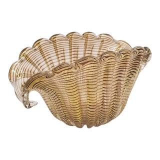 Vintage Ercole Barovier Murano Zebrato Bowl For Sale