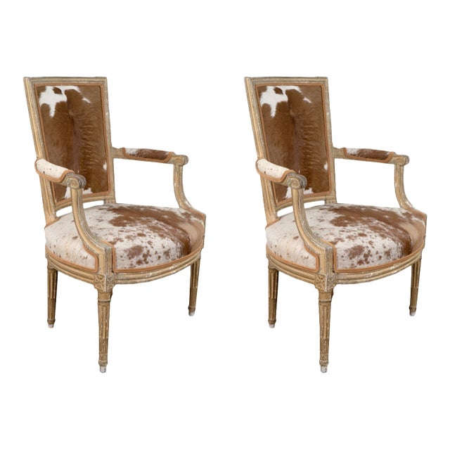 Louis XVI Style Hide Upholstered Fauteuils- a Pair For Sale