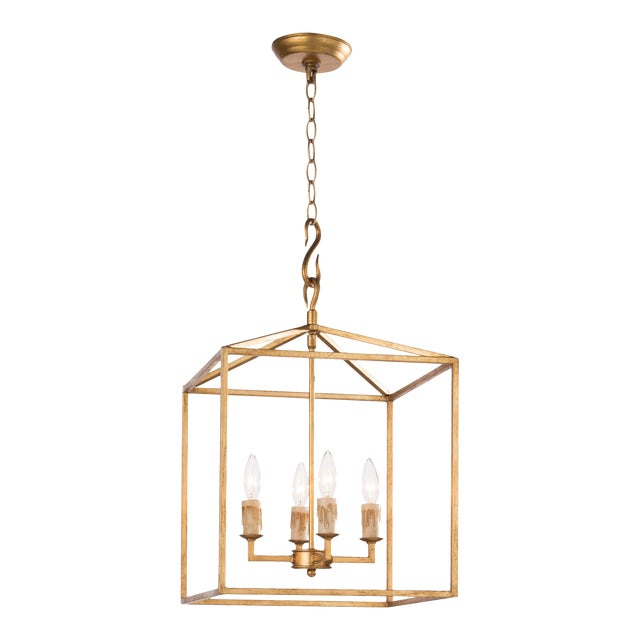 Cape Lantern Small in Antique Gold Leaf For Sale