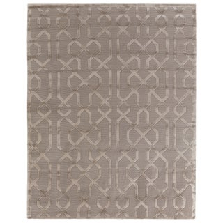 """Vera Hand knotted Wool/Viscose Light Beige Rug-6'x9"""" For Sale"""