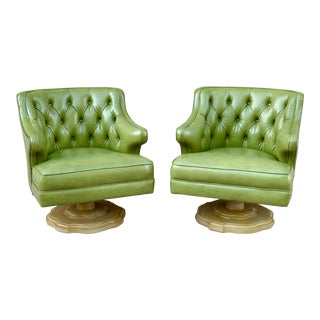 Vintage Mid Century Green Tufted Swivel Lounge Chairs- A Pair For Sale