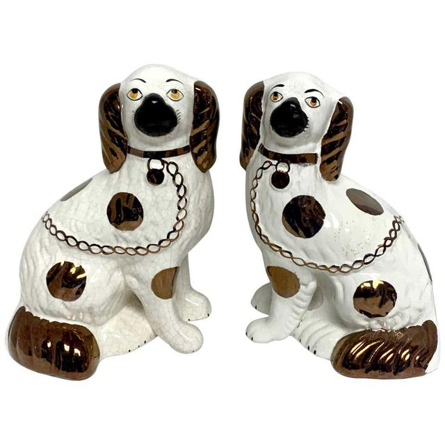 Wider Staffordshire Copper Luster Dogs With Separated Legs - a Pair For Sale - Image 12 of 12