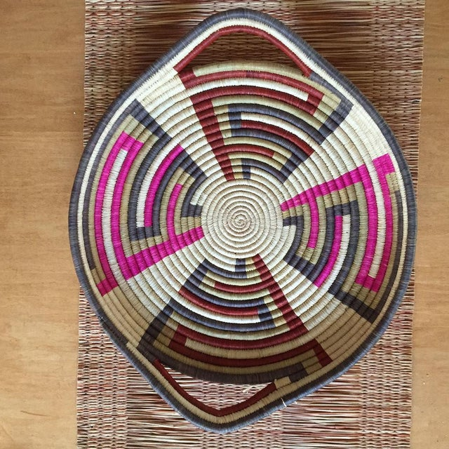 African Woven Sisal African Tray For Sale - Image 3 of 4
