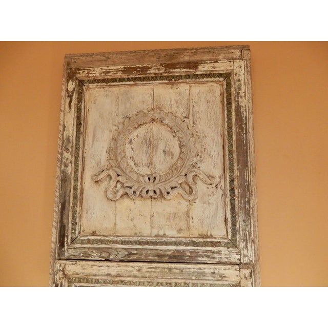 19th century rustic French Trumeau. Worn paint adds to the patina.