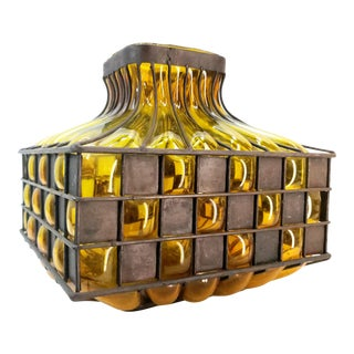 Vintage Wrought Iron Amber Encased Art Glass Large Square Vase Indoor Outdoor For Sale