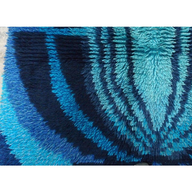 Handmade vintage Scandinavian Rya rug in blue shade. The rug is from the middle of 20th century, in original good...