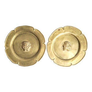 Vintage Decorative Colombian Brass Wall Plates - Set of 2 For Sale