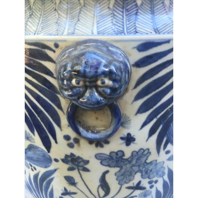 Blue & White Chinese Fish Motif Planter - Image 5 of 10