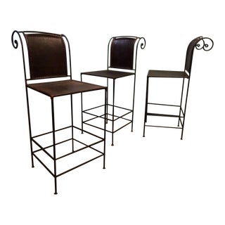 Vintage Scrolled Iron & Leather Bar Stools - Set of 3 For Sale