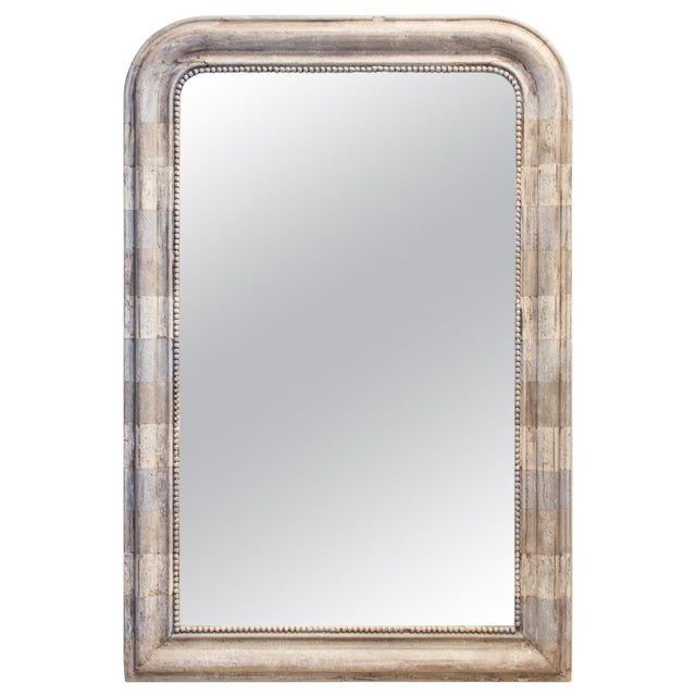 Antique French Louis Philippe Mirror With Hand Painted Greige Stripe Finish For Sale - Image 13 of 13