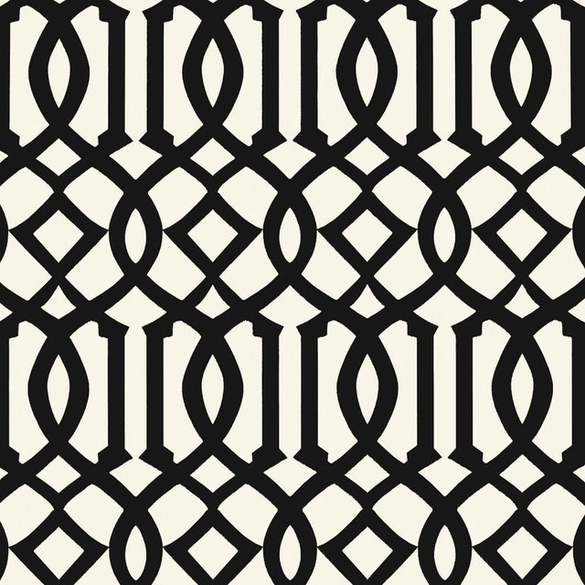 Contemporary Schumacher Imperial Trellis II Wallpaper in Jet For Sale - Image 3 of 3