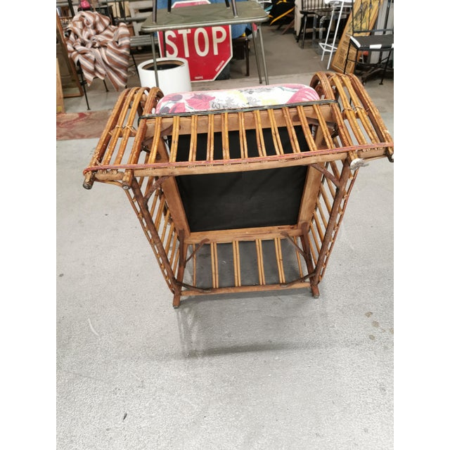 Art Deco Reeded Rattan Lounge Chair and Ottoman For Sale - Image 9 of 13