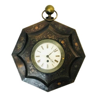 Antique French Tole Decorative Wall Clock For Sale