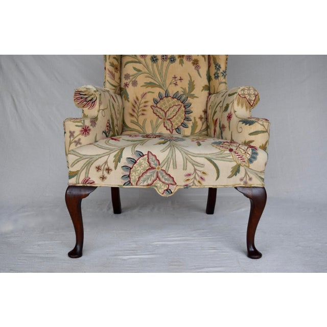 Antique White English Queen Anne Style High Back Library Wingchair, Circa 1910 For Sale - Image 8 of 13