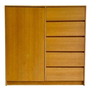 Simple + Clean Mid Century Modern Danish Oak Gentlemen's Chest / Armoire / Dresser For Sale