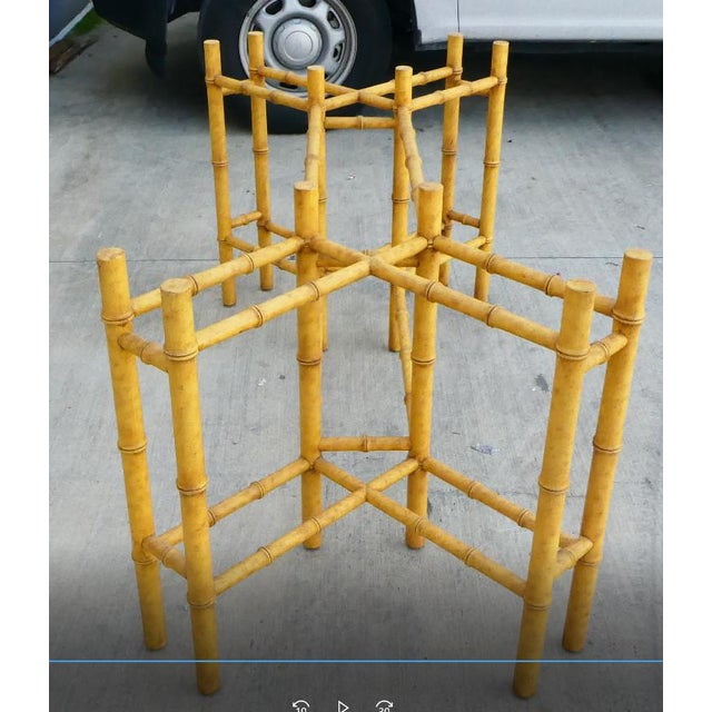 Classic Chinese Chippendale Rattan Dining Room Table Base with 6 Pagoda Top Dining Chairs For Sale In Miami - Image 6 of 13