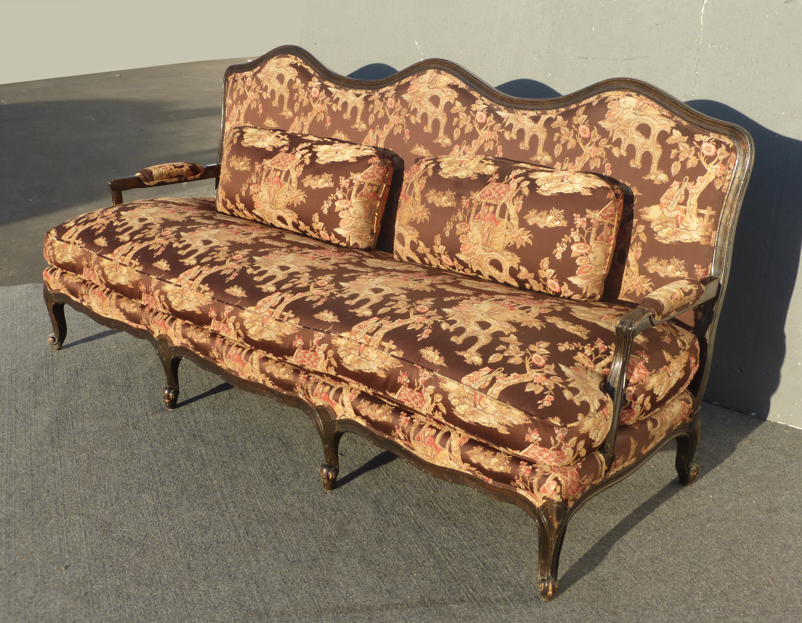 Chinoiserie Style Silk Goose Down Upholstered Settee Sofa   Image 4 Of 9