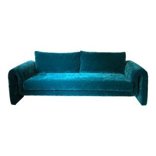 Custom Mod Teal Velvet Sofa For Sale