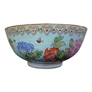 Japanese Oriental Floral Butterfly Decorative Bowl For Sale