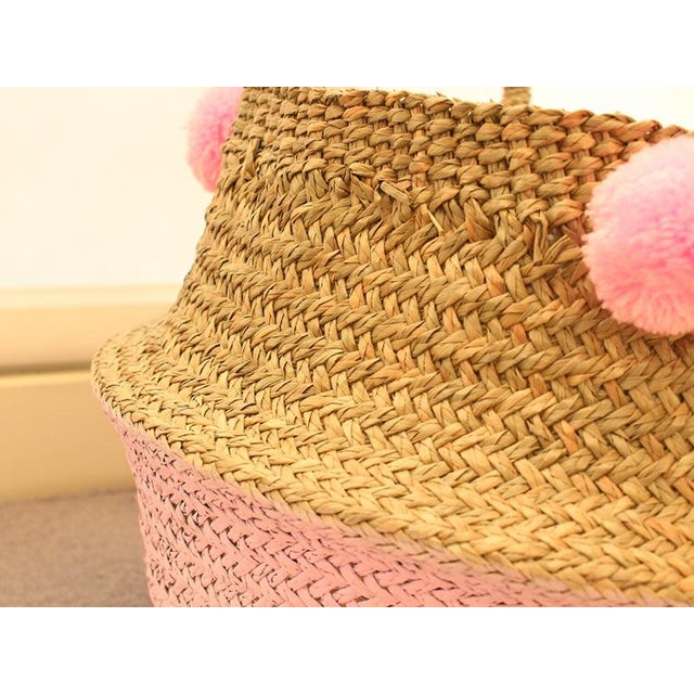 Boho Chic Double Woven Sea Grass Pastel Pink Pom Poms Belly Basket For Sale - Image 3 of 7