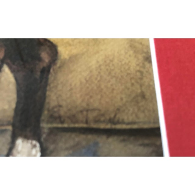 Realism Original Vintage Horse With Hood Signed Watercolor Painting For Sale - Image 3 of 5