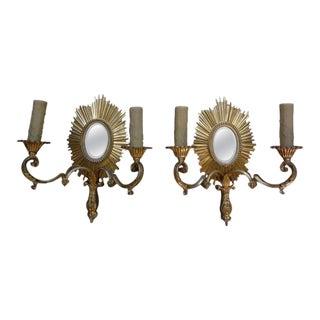 French Maison Bagues Style Bronze Sunburst Sconces-A Pair For Sale