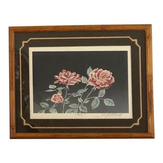 "Vintage Signed Embossed Serigraph ""Roses"" by David Allgood For Sale"