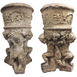 Pair of Italian Neoclassical Style Cast Stone Jardinieres, 19th Century For Sale