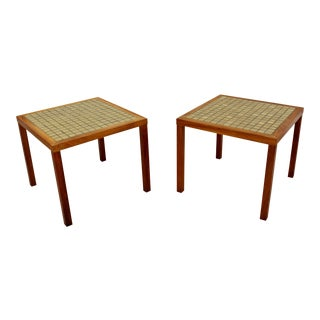 Mid-Century Modern Pair of Martz Green Tile-Top and Walnut Side End Tables For Sale