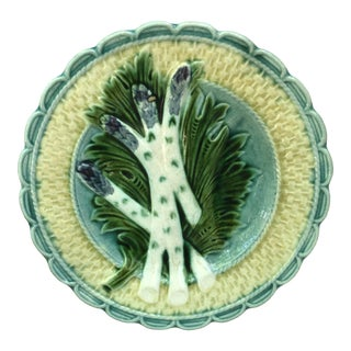 Majolica Asparagus Plate Salins, Circa 1890 For Sale