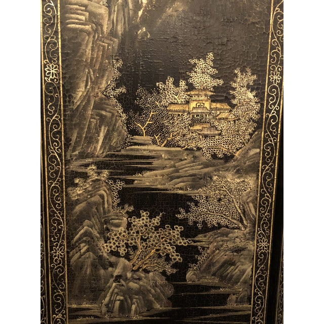 Late 19th Century Antique Chinese Lacquered 12 Panel Screen, Circa 1890-1910. For Sale - Image 5 of 6